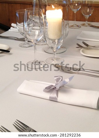 Image made by smartphone. Table in restaurant - stock photo