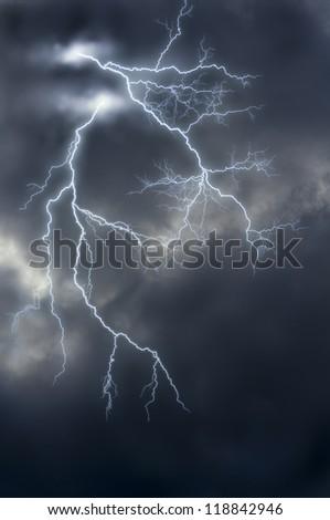 image manipulation of lightnings. - stock photo