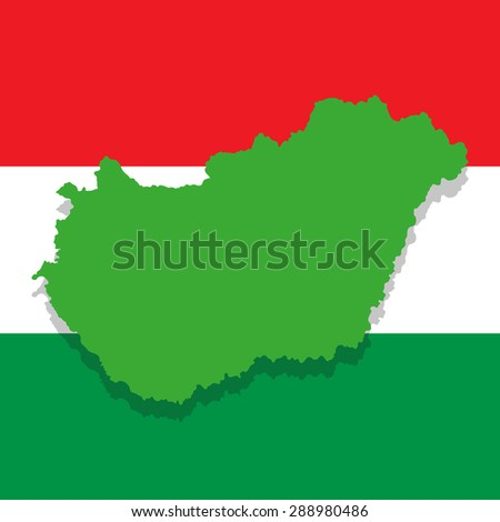 image map of Hungary on the background of the national flag - stock photo