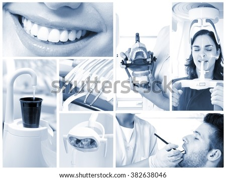Image mosaic of dental photos in hightech dentist's surgery. - stock photo