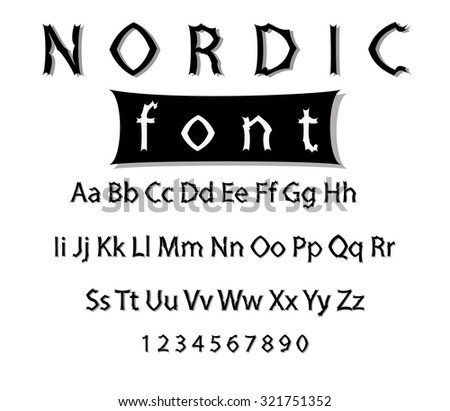 Image nordic font. Collection of alphabet symbols and figures. - stock photo