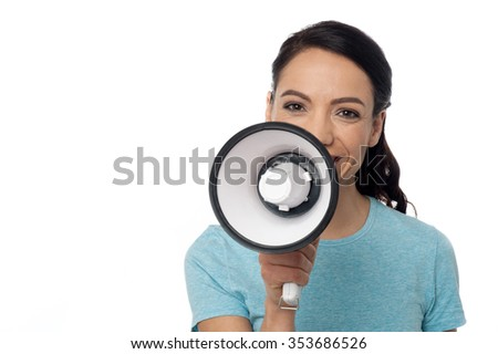 Image of a attractive woman advertising over megaphone