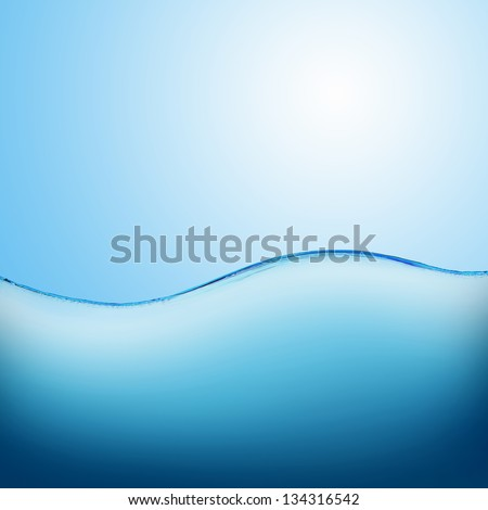 Image of a beautiful blue sea wave - stock photo