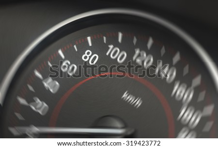 Image of a blurry speedometer from a car. The sharp number is 80 km/h. Image has a spin blur effect applied to create blurry feeling of speed.