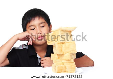 Image of a boy with no appetite - stock photo