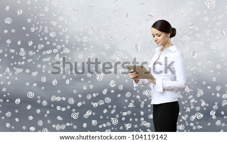 Image of a business person and finance related background - stock photo