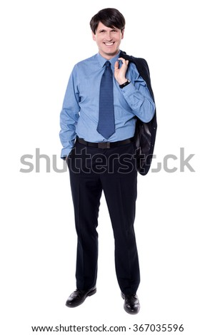 Image of a businessman holding coat over his shoulder