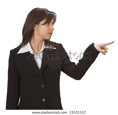Image of a businesswoman pointing to something- isolated against a white background.