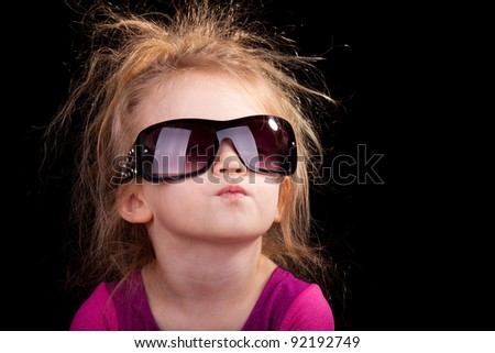 Image of a child isolated on black. - stock photo