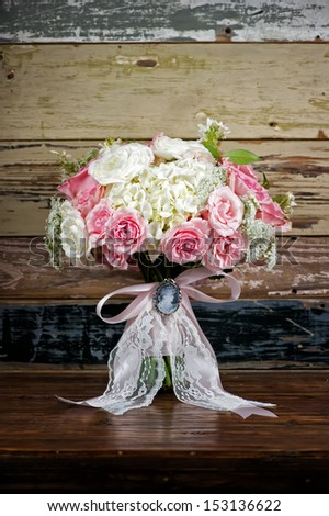 Image of a classic but modern bridal bouquet - stock photo