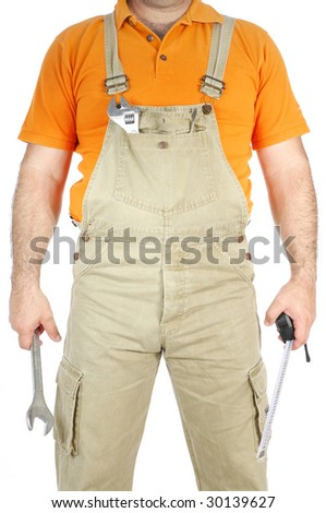 image of a conceptual mechanic isolated on white background - stock photo
