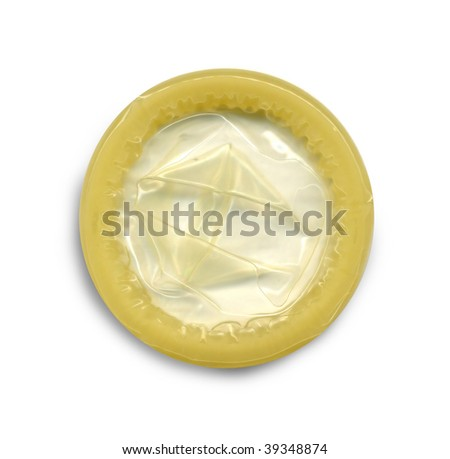 Image of a condom pack over white background