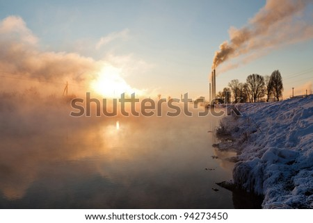 Image of a countryside plant in winter morning - stock photo