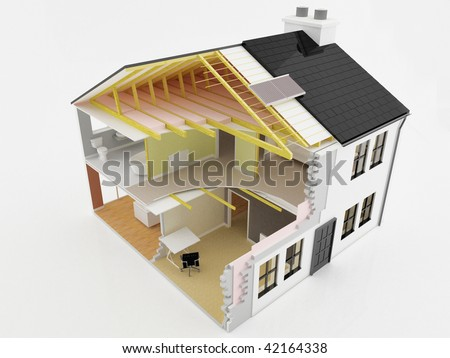 Image of a cross section view of an energy efficient new home - stock photo