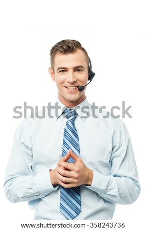 Image of a customer support executive on call - stock photo