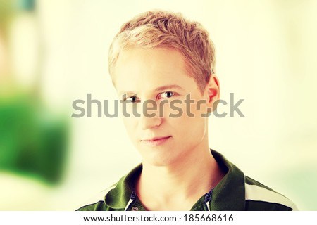 Image of a cute young blond caucasian male - stock photo