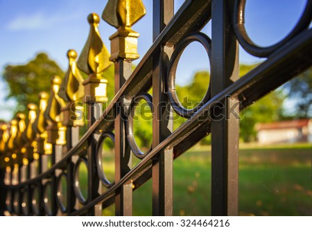 Image of a decorative cast iron fence. - stock photo