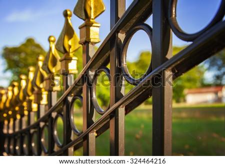 Image of a decorative cast iron fence. - stock photo