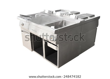 image of a deep fryer and restaurant stove - stock photo