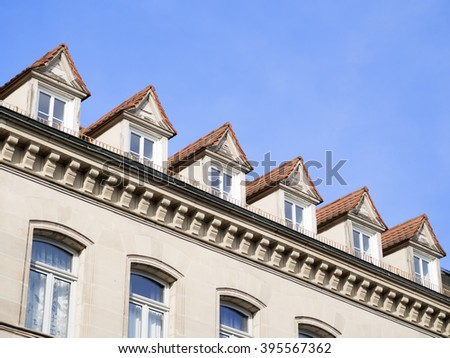 Image of a facade of a old house with free space in blue sky in Furth, Germany
