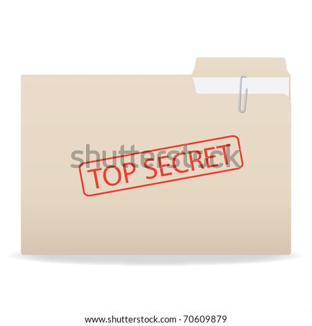 Image of a folder with a Top Secret stamp isolated on a white background. - stock photo