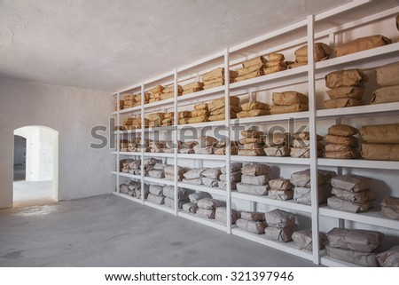 Image of a fully stocked store room.  - stock photo