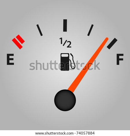 Image of a gas gage with a gray background. - stock photo