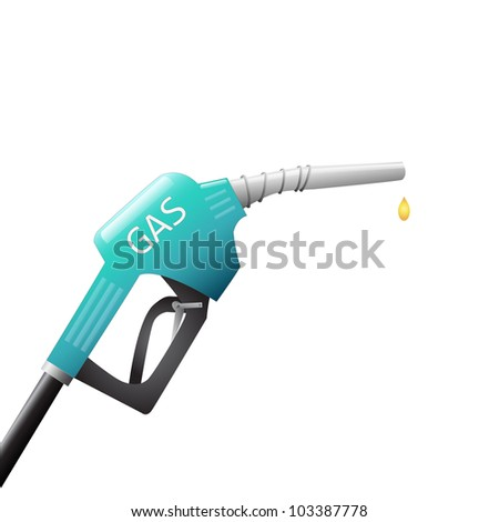 Image of a gas pump with a drop of fuel isolated on a white background.