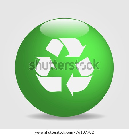 Image of a globe with the recycle symbol isolated on a white background. - stock photo