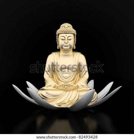 image of a gold statue of Buddha and a lotus flower - stock photo