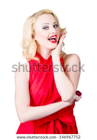 Image of a gorgeous classic blond woman smiling and laughing in a stunning red sleeveless dress