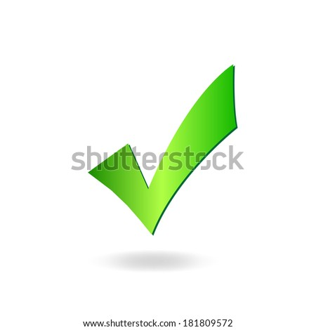 Image of a green check mark isolated on a white background. - stock photo