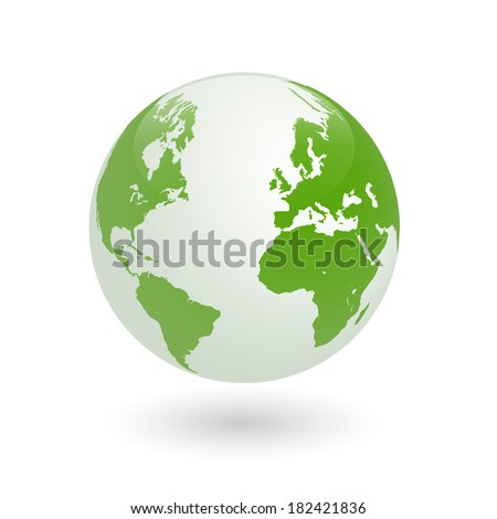 Image of a green earth globe isolated on a white background. Vector file available. - stock photo