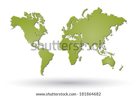 Image of a green world map isolated on a white background. - stock photo