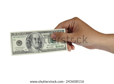 Image of a hand holding 100 Dollar bill isolated on white