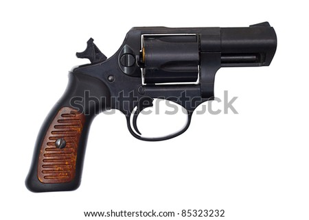 Image of a handgun on a white background - stock photo