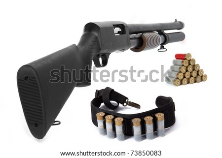 Image of a hunting rifle and ammunition on white background - stock photo
