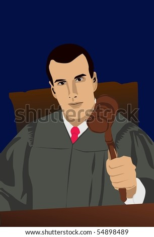 Image of a judge who is handing his verdict in court. - stock photo