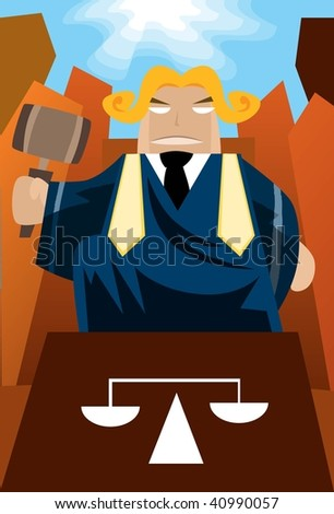 Image of a judge who is sitting on the throne and judge the case. - stock photo