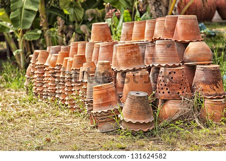 Image of a large collection of clay pottery vessels. - stock photo