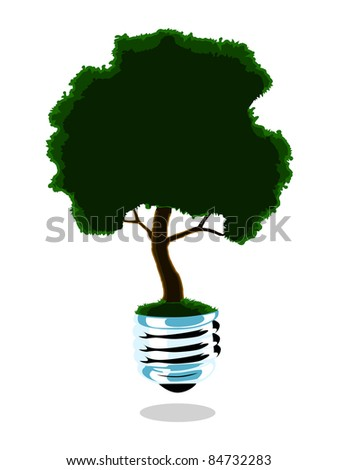 Image of a light bulb with a growing tree - stock photo