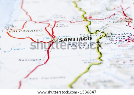 Image of a map showing Santiago, the capital of Chile, South America. - stock photo