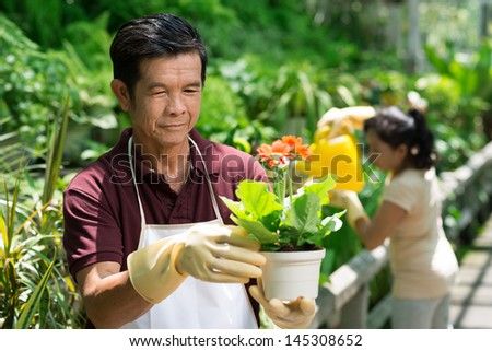 Image of a mature man holding a plant in hands on the foreground - stock photo