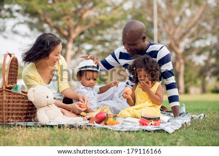 Image of a mixed family having fun while picnicking in the park - stock photo