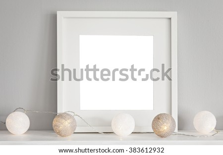 Image of a mockup scene with a white square frame and baubles.  - stock photo