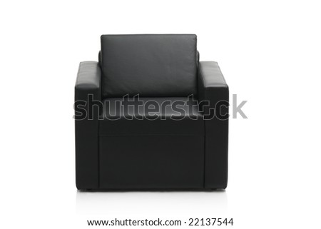Image of a modern black leather armchair isolated on white background