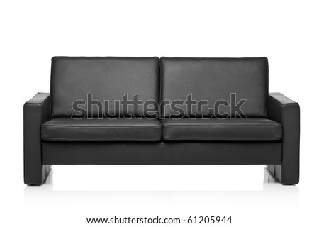Image of a modern black leather sofa over white background - stock photo