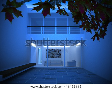 Image of a modern house at night - stock photo