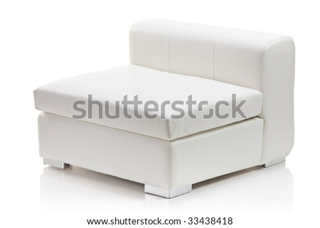 Image of a modern leather armchair isolated on white background - stock photo