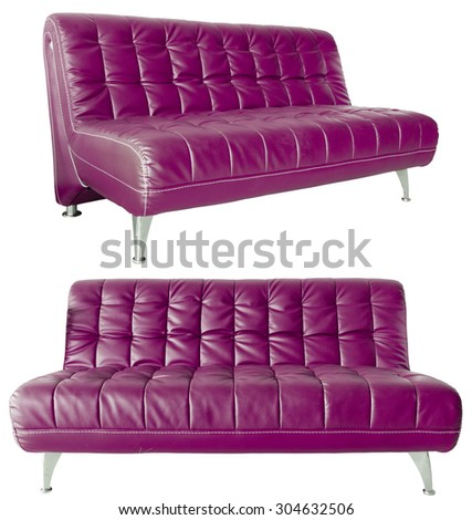 Image of a modern red leather sofa isolated against white background - stock photo